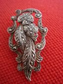 1930s Dress Clip - Flowers and Leaves Silver and Marcasite (Sold)